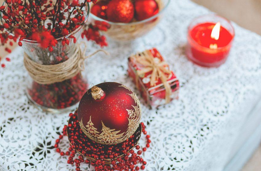 Palle di Natale Rosse dall'alto