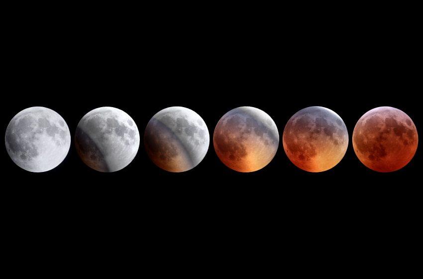 Luna in varie fasi di eclissi
